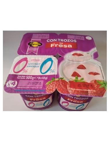 Yogur ayala fresa trozos 0 % 0% (pack 4)
