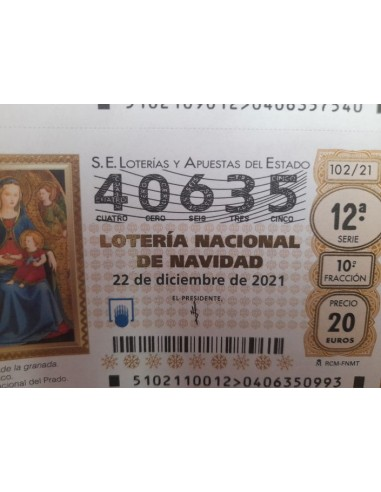 Loteria navidad año 2021 NUMERO 40635...